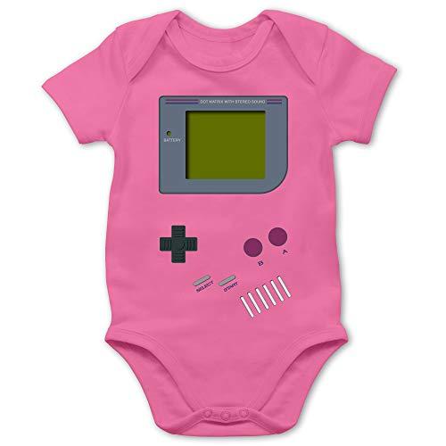 Shirtracer Strampler Motive - Gameboy - 1/3 Monate - Pink - Onkel Strampler - BZ10 - Baby Body Kurzarm für Jungen und Mädchen