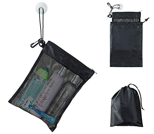 """Shower Bag Tote, Mesh Caddy Toiletry Organizer 12""""L x 9""""W, Compact and Lightweight With Suction Cup, Cord for Hanging, Zipper and Drawstring Pouch 14""""L x 10""""W, Black"""