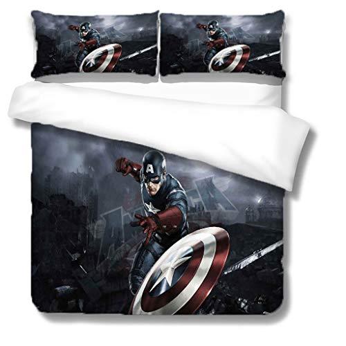 XWXBB Captain America (Bettwäsche-Sets Luxuriöser Bettbezug aus Mikrofaser, wunderschön gemusterter Bettbezug, weich, hautfreundlich, Nicht reizend (NO1,Single140x210cm)