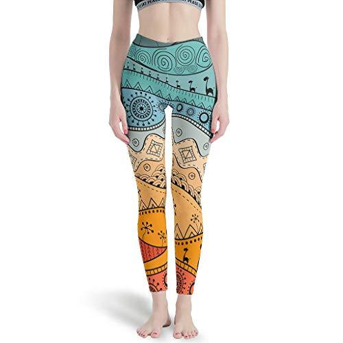 Viiry Polainas Deportivas Africanas dibujadas a mano patrones étnicos Mujeres Estilo Diversidad Tobillo Elástico - Yoga Pantalón para Gimnasio blanco l