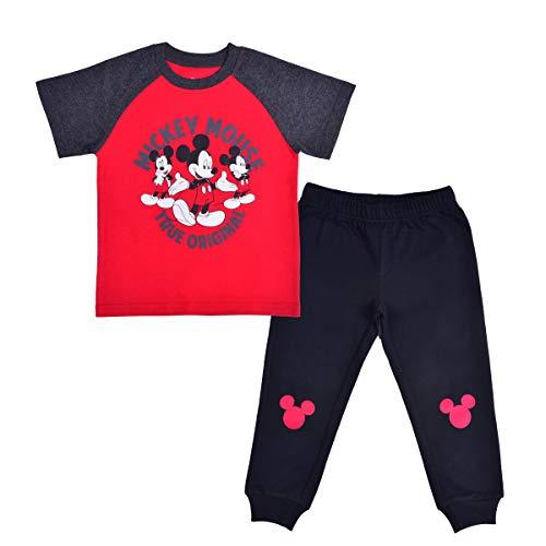 Disney Boy's 2-Piece Mickey Mouse True Original Raglan T-Shirt and Jogger Pant Set, Red/Black, Size 12M