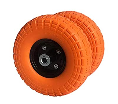 """AFT PRO USA 2- Pack 10"""" Flat Free Tires Wheels with 5/8"""" Center - Solid Tire Wheel for Dolly Hand Truck Cart/All Purpose Utility Tire on Wheel"""