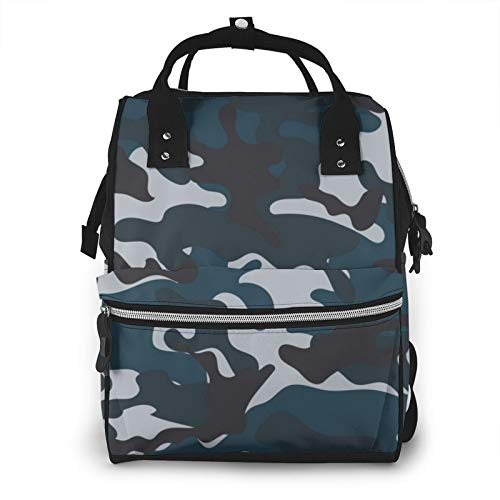 Mommy Bag Big - Functional Large Baby Diaper Travel Bag for Baby Care Blue Camouflage Artpics