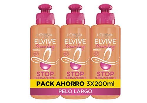 L'Oréal Paris Elvive Dream Long Crema Stop Tijeras, para cabellos dañados - Pack de 3 x 200 ml