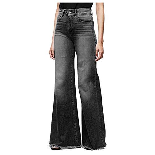BUKINIE Pantalon en Denim pour Femmes Taille élastique Coupe régulière Coupe Jambes Larges Jeans Taille Haute Curvy Stretch Bootcut Jeans Pantalon Jean(Noir,XX-Large