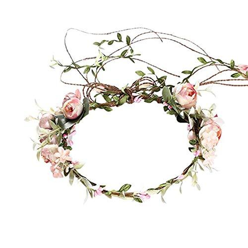 JUNGEN Blumengirlande Stirnbänder für Brautblume Krone weiße Blume Haar Kranz für Frauen Mädchen Hochzeit Strand Fotografie (Hell-Pink)