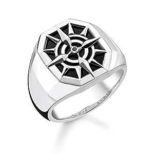 THOMAS SABO Unisex Ring Kompass schwarz 925 Sterlingsilber, Geschwärzt TR2274-641-11
