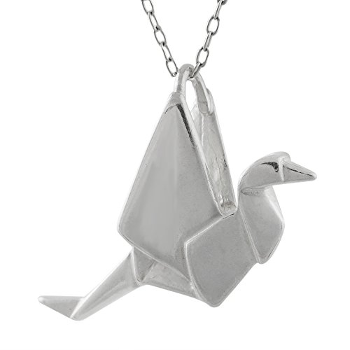 "FashionJunkie4Life Sterling Silver 3D Origami Crane Pendant Necklace, 18"" Chain"