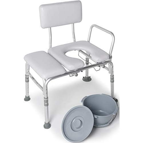 Lumex 3-in-1 Tub Transfer Bench & Shower Chair with Commode - Waterproof Padded Cushions - 7956KD-1