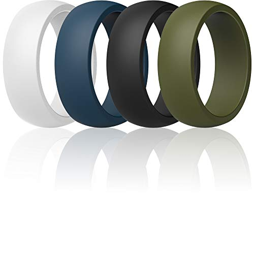 ThunderFit Mens Silicone Rings Wedding Bands - 4 Pack Classic & Middle Line (Dark Blue, Black, Olive, White, 9.5-10 (19.8mm))