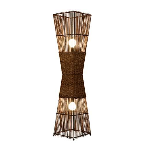 Lámparas de pie Lámpara de pie retro del sudeste asiático, lámpara estándar de ratán para el comedor de la sala de estar, lámpara de pie marrón con interruptor de pie (D30 * H130CM) lámparas de pie