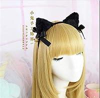 甘いロリータ猫耳ヘアバンド黒弓の毛バンドメイド hairwear アクセサリー B529