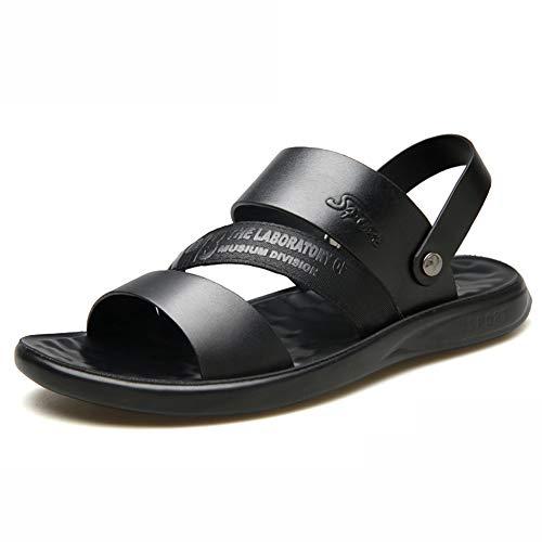 MIAO. NAF,Sandalias de Cuero Suave de Verano Zapatos de Playa de Verano Zapatos Casuales de Verano, Sandalias de Doble Uso, Zapatos de Marea Sandalias para Hombres Transpirables,Negro,43