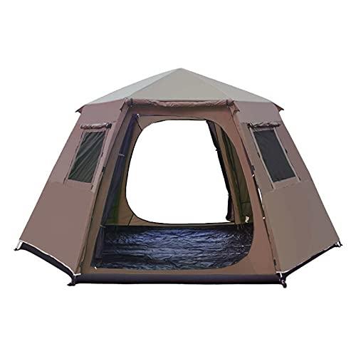 5-8 Persona Use Polos De Aluminio De La Capa De Doulbe a Prueba De Agua Ultralarge Automático Partido Al Aire Libre Camping Tienda Grande Gazebo Sun Shelter (Color : Brown)