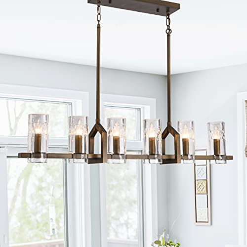 Modern Farmhouse Chandelier Light Fixture, Antique Bronze Linear Pendant Lighting for Kitchen Island Dining Room Lighting Fixtures Adjustable Hanging Cord with Six Cylindrical Glass Shades