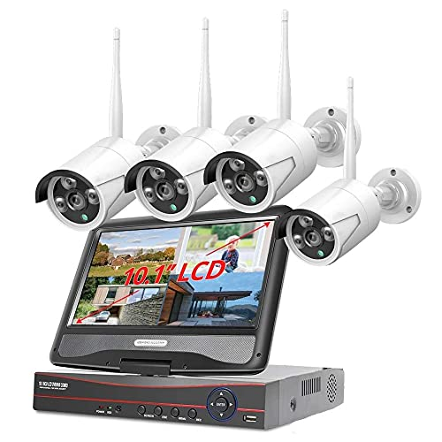 Sistema Cctv Inalámbrico De 3mp Con Monitor De 10.1 Pulgadas 4 Canales (expandible) Kit Hd Nvr Kit De Cámara Ip De Wifi Exterior Sistema De Cámara De Video Ip Del Siste(Size:1080P with 1TB hard drive)