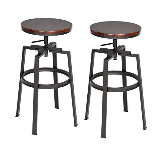 furniture-r Francia–Juego de 2sillas de Bar estilo Industrial Vintage taburetes de bar dessus madera MDF sólido nogal negro de Pin y metal estilo altura regulable giratorio