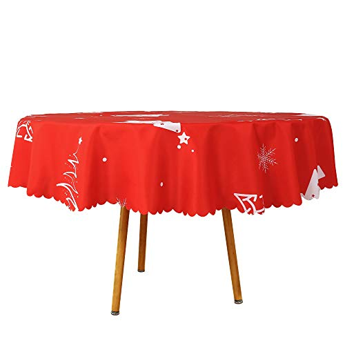 Romanstile Round Christmas Tablecloth Printed Xmas Tree Pattern Washable Polyester Water Proof Wrinkle Resistance Fabric Table Cloths for Dinner/Parties/Holiday Decoration (70 inch)