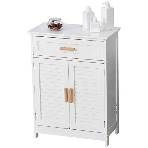 kleankin Armario Auxiliar para Baño Mueble Organizador Multifuncional con Cajón Estante Ajustable Interno 2 Puertas de Persianas Estilo Elegante 59x29x80 cm Blanco