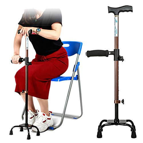 ZBYL Lightweight Canes Walking Stick with Help Stand Up Armrests, Ergonomic Design Adjustable Height for Right Or Left Hand Use