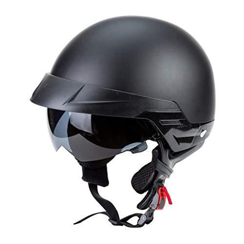 H HILABEE Motocicleta Medio Casco Visera Retráctil Correa de Barbilla Ajustable para Hombres Y - SG