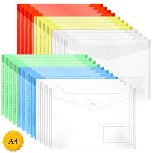 ZWOOS Cartelle Portadocumenti in Plastica,24 Pezzi Buste A4 Cartelline ColoreTrasparenti con Bottone a Pressione e Tasca per Certificati, Ricevute e Buoni, 6 colori