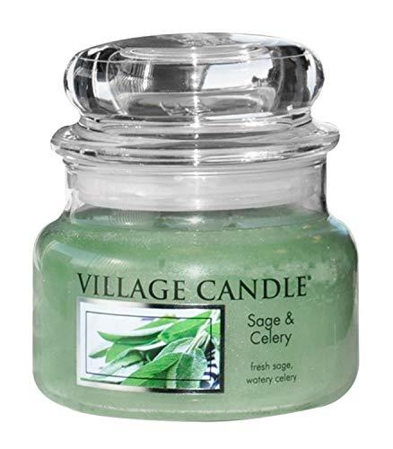Village Candle Salbei und Sellerie kleine Duftkerze im Glas, 312 g, grün, 9.6 x 9.3 cm