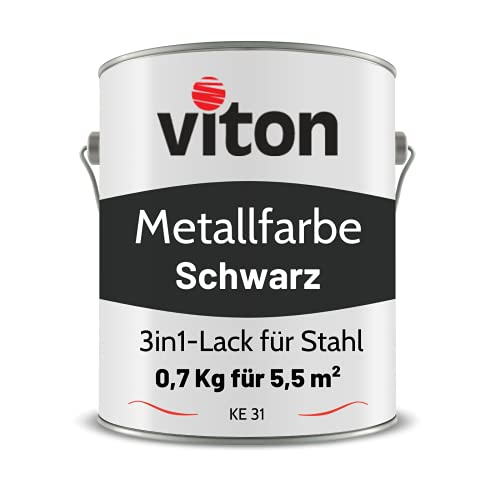 VITON Metallfarbe in Schwarz - 0,7 Kg Metall-Schutzlack Seidenmatt - Dauerhafter Schutz & hohe Beständigkeit - 3in1 - Metalllack direkt auf Rost - KE31 - RAL 9005 Tiefschwarz