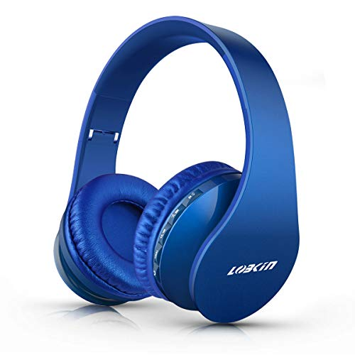 LOBKIN Bluetooth Headphones Over Ear, Stereo Wireless Headset with Microphone, Foldable Wireless and Wired Headphones with TF Card MP3 Mode and FM Radio for iPhone/Samsung/iPad/PC