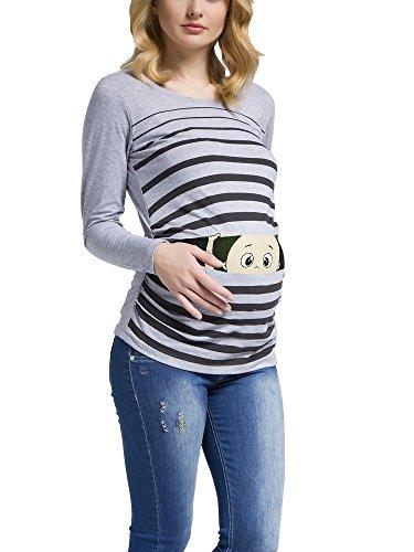 Ropa premamá Divertida y Adorable, Camiseta con Estampado, Regalo Durante el Embarazo - Manga Larga (Gris, Large)