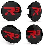 R3 Wheels 4 tapas centrales para llantas, color negro y rojo