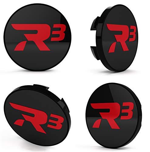 R3 Wheels 4 Stück Nabendeckel Nabenkappen Felgenkappe Center Cap in schwarz - rot