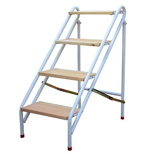 Escalera portátil de 4 peldaños, Escaleras de Tijeras, Escaleras de Tijera de Madera para niños y Adultos, Herramienta de jardín de Acero al Carbono Trabajo Pesado Máx. Altura 150kg: 92cm.