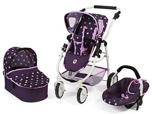 Bayer Chic 2000 637 71 Kombi-Puppenwagen Emotion 3-in-1 All In, Stars lila
