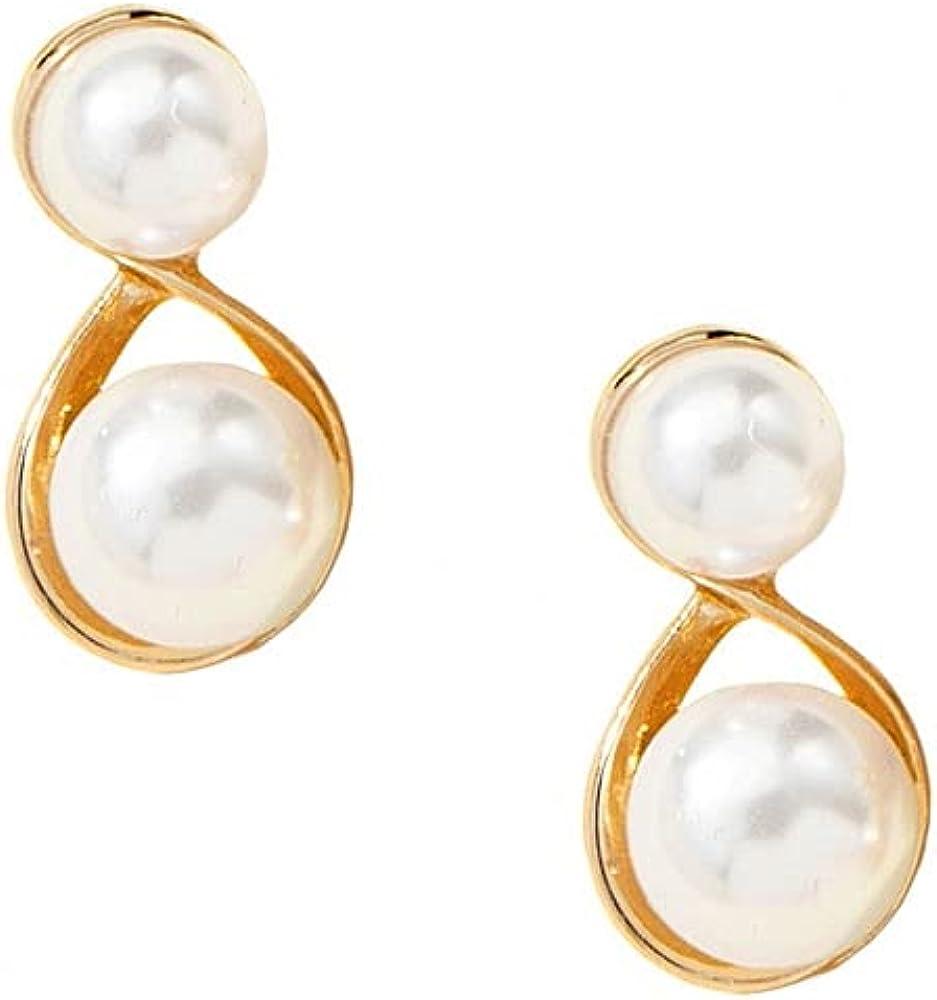 Gold-Tone & Faux Pearl Clip-On Earrings