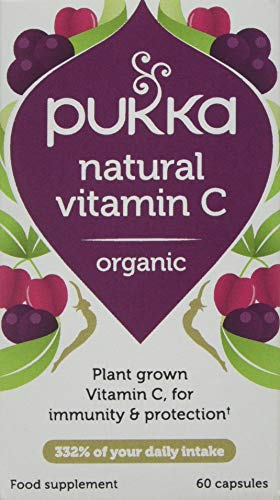 Pukka Herbs Natural Vitamin C, Organic Herbal Supplement, Pack of 60 Capsules