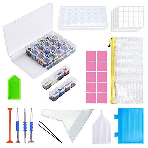 KOTWDQ Lot de 26 outils de peinture diamant 5D de peinture diamant et 2 boîtes de rangement de peinture diamant 28 compartiments