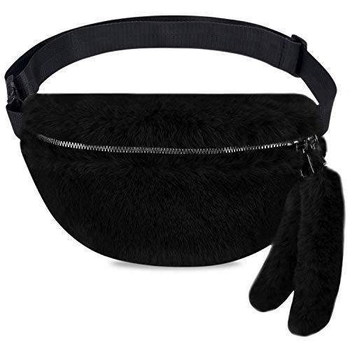LIVACASA Outlet Riñoneras Mujeres Riñoneras de Marcha Invierno Suave Lana Chicas Bolsas de Cintura Lindos con Colgantes Negro