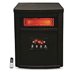 Lifesmart ZCHT1071US 1500 Watt 8 Element Quartz Infrared Electric Portable Large Room Space Zone Heater, Black