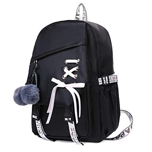 FENGDONG Kids Bookbag school Backpack Children Daypack for Girls-Black