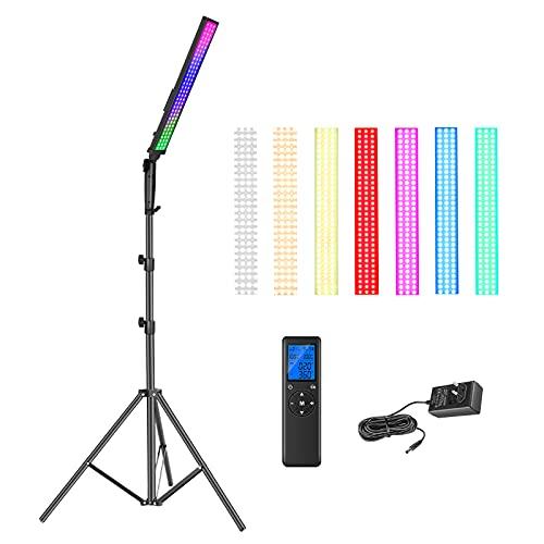 Neewer 2,4G RGB Barra Luz LED, Kit de Iluminación para Fotografía con Control Remoto, Luz de Video LED Regulable de 21W con Soporte / 3200k~5600K / CRI95 + / 360° a Todo Color / 10 Efectos de Escena