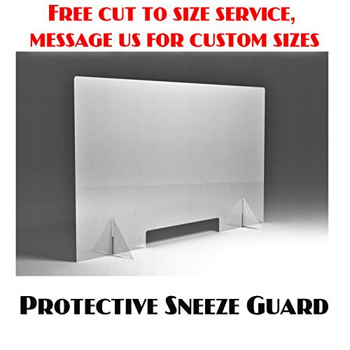 Protective Sneeze Guard, Clear Acrylic Plexiglass Shield For Counters, Food Screen, Transaction Window for Employers, Workers & Customers, Barrier Against Coughing & Sneezing (100 x 80 cm)