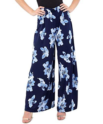 WearAll- Femmes Plus Floral Imprimer Élevé Taille Palazzo Pantalon Nouveau Dames Large Jambe Pantalon - Bleu Marine - 48-50
