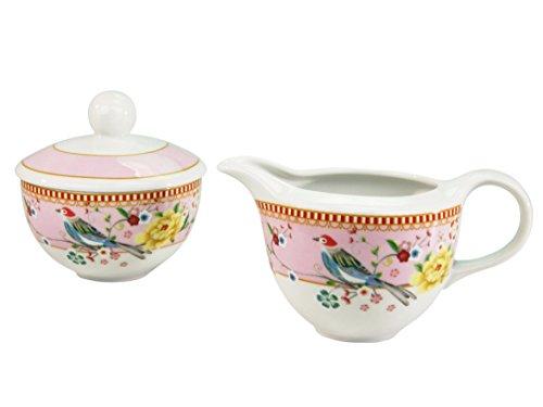 Creatable, 16214, Serie Birdy, Zuckerdosen Set Milchgießer und Zuckerset 2 TLG, Porzellan, Mehrfarbig, 27x15x14 cm