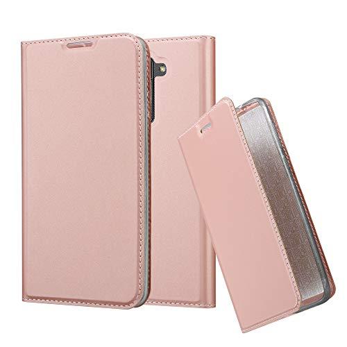 Cadorabo Hülle für LG Stylus 2 - Hülle in ROSÉ Gold – Handyhülle mit Standfunktion & Kartenfach im Metallic Erscheinungsbild - Case Cover Schutzhülle Etui Tasche Book Klapp Style
