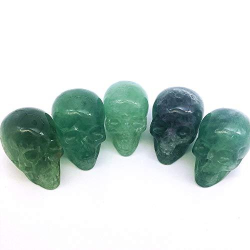 dohaibogoo Skullis 2' Deep Green Fluorite Stone Rock Crystal Carved Crystal 1pc Skull. Crystal Healing Reiki Statue, Gemstone Skull Sculpture Fine Art.
