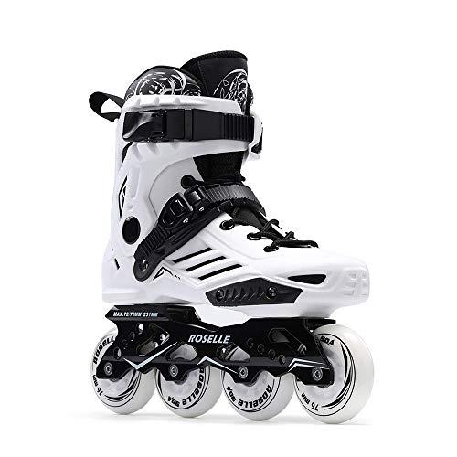 Mhwlai Inline-Skates für Erwachsene, Anfänger, Herren- und Damen-Rollschuhe, Profi-Fancy-Skates (schwarz),Weiß,41