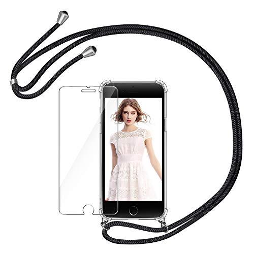 AROYI Handykette Handyhülle und Panzerglas Schutzfolie kompatibel mit iPhone 6 mit iPhone 6S Hülle mit Kordel Umhängen Necklace Band Transparent Schwarz