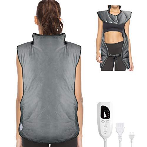 Heizkissen für Rücken Schulter Nacken, 56 x 94 cm Elektrisch Wärmekissen Heizdecke zur Linderung von Rücken und Schulterschmerzen, mit Abschaltautomatik und 6 Temperaturstufen
