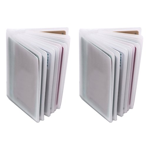 Set of 2-10 Page Plastic Card Wallet Insert For Bifold Trifold 20 Slots Holder Replacement (Vertical Type - Set of 2)